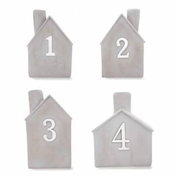 Heitmann Deco Advents-Kerzenhalter - Häuschen - 4er Set - Keramik - zum Hinstellen - Weihnachtsdeko - grau,weiß - ca. 16,5 x 11 x 6,5 cm - 1