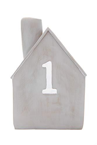 Heitmann Deco Advents-Kerzenhalter - Häuschen - 4er Set - Keramik - zum Hinstellen - Weihnachtsdeko - grau,weiß - ca. 16,5 x 11 x 6,5 cm - 5