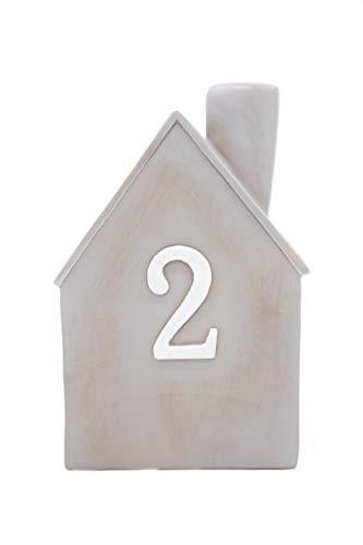 Heitmann Deco Advents-Kerzenhalter - Häuschen - 4er Set - Keramik - zum Hinstellen - Weihnachtsdeko - grau,weiß - ca. 16,5 x 11 x 6,5 cm - 6