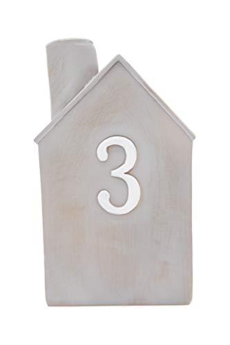 Heitmann Deco Advents-Kerzenhalter - Häuschen - 4er Set - Keramik - zum Hinstellen - Weihnachtsdeko - grau,weiß - ca. 16,5 x 11 x 6,5 cm - 7