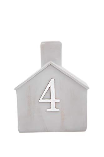Heitmann Deco Advents-Kerzenhalter - Häuschen - 4er Set - Keramik - zum Hinstellen - Weihnachtsdeko - grau,weiß - ca. 16,5 x 11 x 6,5 cm - 8