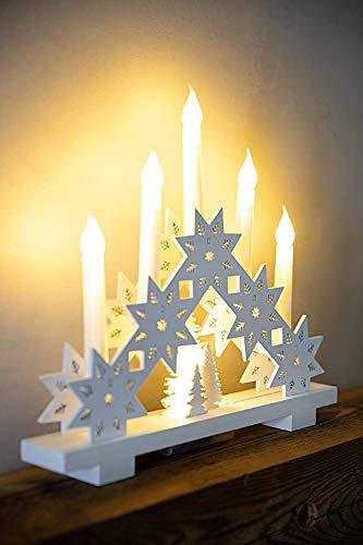 HEITMANN DECO LED-Lichterbogen aus Holz - Stimmungsleuchter - Schwibbogen - beleuchtete Weihnachtsdeko - weiß - für innen - 4