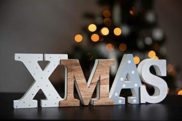 HEITMANN DECO Schriftzug Xmas aus Holz - weiß/grau/braun - mit Punkten und Sternen - Aufsteller - Weihnachtsdekoration - 2