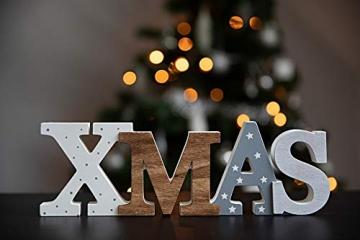 HEITMANN DECO Schriftzug Xmas aus Holz - weiß/grau/braun - mit Punkten und Sternen - Aufsteller - Weihnachtsdekoration - 3