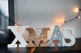 HEITMANN DECO Schriftzug Xmas aus Holz - weiß/grau/braun - mit Punkten und Sternen - Aufsteller - Weihnachtsdekoration - 1