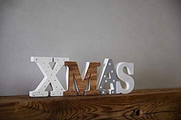 HEITMANN DECO Schriftzug Xmas aus Holz - weiß/grau/braun - mit Punkten und Sternen - Aufsteller - Weihnachtsdekoration - 4