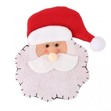 HENGSONG 4 Stücke Weihnachtsmann Weihnachten Deko Bestecktasche Besteckbeutel Besteckhalter für Weihnachten - 2
