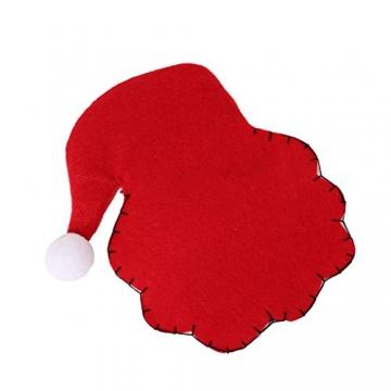 HENGSONG 4 Stücke Weihnachtsmann Weihnachten Deko Bestecktasche Besteckbeutel Besteckhalter für Weihnachten - 3