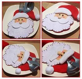 HENGSONG 4 Stücke Weihnachtsmann Weihnachten Deko Bestecktasche Besteckbeutel Besteckhalter für Weihnachten - 1