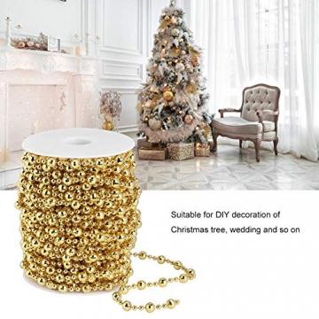 HERCHR Perlenband Perlenkette 65.6 Ft Perlengirlande Dekokette Perlenschnur Perle Christbaumkette Perlen Garland Weihnachten Advent Hochzeit Deko Tischdeko Perlen Garland String (Gold) - 2