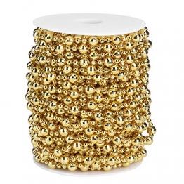 HERCHR Perlenband Perlenkette 65.6 Ft Perlengirlande Dekokette Perlenschnur Perle Christbaumkette Perlen Garland Weihnachten Advent Hochzeit Deko Tischdeko Perlen Garland String (Gold) - 1