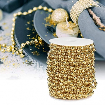 HERCHR Perlenband Perlenkette 65.6 Ft Perlengirlande Dekokette Perlenschnur Perle Christbaumkette Perlen Garland Weihnachten Advent Hochzeit Deko Tischdeko Perlen Garland String (Gold) - 4