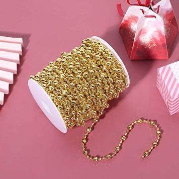 HERCHR Perlenband Perlenkette 65.6 Ft Perlengirlande Dekokette Perlenschnur Perle Christbaumkette Perlen Garland Weihnachten Advent Hochzeit Deko Tischdeko Perlen Garland String (Gold) - 5