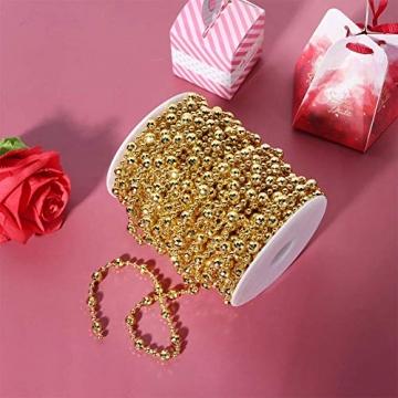 HERCHR Perlenband Perlenkette 65.6 Ft Perlengirlande Dekokette Perlenschnur Perle Christbaumkette Perlen Garland Weihnachten Advent Hochzeit Deko Tischdeko Perlen Garland String (Gold) - 6