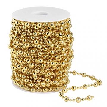 HERCHR Perlenband Perlenkette 65.6 Ft Perlengirlande Dekokette Perlenschnur Perle Christbaumkette Perlen Garland Weihnachten Advent Hochzeit Deko Tischdeko Perlen Garland String (Gold) - 7
