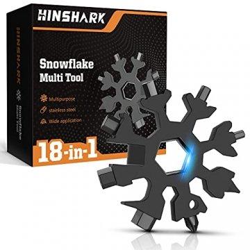 Hinshark Geschenke für Männer - 18-in-1 Schneeflocken Multi-Tool, Adventskalender Männer 2021, Gadgets für Männer, Weihnachtsgeschenke, Coole Werkzeug Kleine Geschenk für Papa, Mann, Frauen(Schwarz) - 1