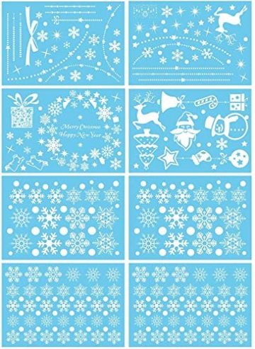 HIQE-FL Fensterbilder Weihnachten Selbstklebend, Schneeflocken Fensterdeko, Fensterbild Weihnachten, Weihnachts Fensterbilder, für Türen Schaufenster Vitrinen Glasfronten - 2