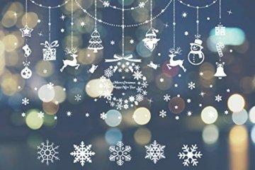 HIQE-FL Fensterbilder Weihnachten Selbstklebend, Schneeflocken Fensterdeko, Fensterbild Weihnachten, Weihnachts Fensterbilder, für Türen Schaufenster Vitrinen Glasfronten - 1