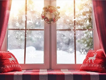 HIQE-FL Fensterbilder Weihnachten Selbstklebend, Schneeflocken Fensterdeko, Fensterbild Weihnachten, Weihnachts Fensterbilder, für Türen Schaufenster Vitrinen Glasfronten - 5
