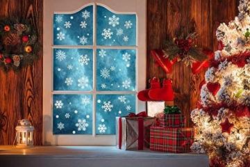HIQE-FL Fensterbilder Weihnachten Selbstklebend, Schneeflocken Fensterdeko, Fensterbild Weihnachten, Weihnachts Fensterbilder, für Türen Schaufenster Vitrinen Glasfronten - 6