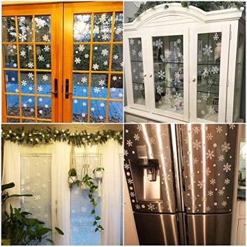 HIQE-FL Fensterbilder Weihnachten Selbstklebend, Schneeflocken Fensterdeko, Fensterbild Weihnachten, Weihnachts Fensterbilder, für Türen Schaufenster Vitrinen Glasfronten - 7
