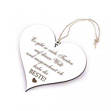 Holzschild Herz Schild Spruch Beste Tante der Welt 13 x 12 cm Dekoschild - 1