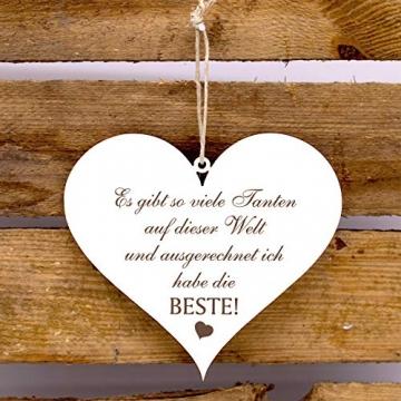 Holzschild Herz Schild Spruch Beste Tante der Welt 13 x 12 cm Dekoschild - 3