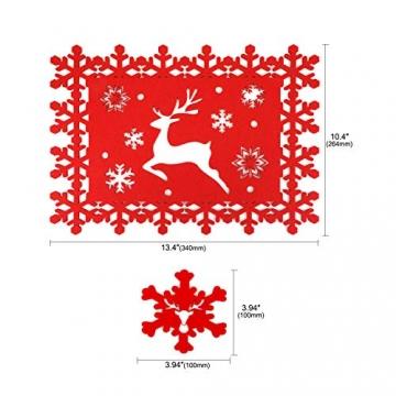 HOWAF Weihnacht Tischdeko Tischset abwaschbar aus Filz 8er Set - 4 Rot Rentier Schneeflocke Motiv Tischuntersetzer Platzset (34x26 cm) + 4 Glas Untersetzer + Platzdeckchen abwischbar - 2