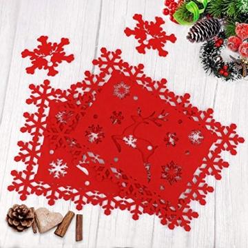 HOWAF Weihnacht Tischdeko Tischset abwaschbar aus Filz 8er Set - 4 Rot Rentier Schneeflocke Motiv Tischuntersetzer Platzset (34x26 cm) + 4 Glas Untersetzer + Platzdeckchen abwischbar - 3