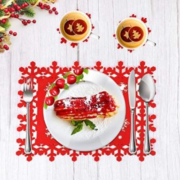 HOWAF Weihnacht Tischdeko Tischset abwaschbar aus Filz 8er Set - 4 Rot Rentier Schneeflocke Motiv Tischuntersetzer Platzset (34x26 cm) + 4 Glas Untersetzer + Platzdeckchen abwischbar - 4