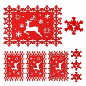 HOWAF Weihnacht Tischdeko Tischset abwaschbar aus Filz 8er Set - 4 Rot Rentier Schneeflocke Motiv Tischuntersetzer Platzset (34x26 cm) + 4 Glas Untersetzer + Platzdeckchen abwischbar - 1