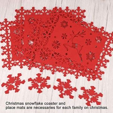 HOWAF Weihnacht Tischdeko Tischset abwaschbar aus Filz 8er Set - 4 Rot Rentier Schneeflocke Motiv Tischuntersetzer Platzset (34x26 cm) + 4 Glas Untersetzer + Platzdeckchen abwischbar - 5