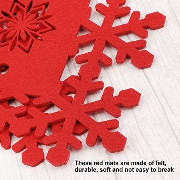HOWAF Weihnacht Tischdeko Tischset abwaschbar aus Filz 8er Set - 4 Rot Rentier Schneeflocke Motiv Tischuntersetzer Platzset (34x26 cm) + 4 Glas Untersetzer + Platzdeckchen abwischbar - 6