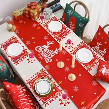 HOWAF Weihnacht Tischdeko Tischset abwaschbar aus Filz 8er Set - 4 Rot Rentier Schneeflocke Motiv Tischuntersetzer Platzset (34x26 cm) + 4 Glas Untersetzer + Platzdeckchen abwischbar - 7