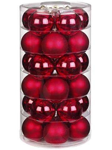 Inge Glas Weihnachtskugeln | Schöne Christbaumkugeln aus Glas | 30 Kugen in Dose | Christbaumschmuck Weihnachtsbaumschmuck Weihnachtsbaumkugeln (Ochsenblut | rot Glanz/matt) - 1