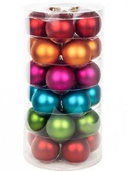 Inge Glas Weihnachtskugeln | Schöne Christbaumkugeln aus Glas | 30 Kugen in Dose | Christbaumschmuck Weihnachtsbaumschmuck Weihnachtsbaumkugeln (Mille Fiori | bunt Mehrfarbig) - 1