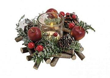 itsisa Winterliches Adventsgesteck m. Zweigen & Äpfeln inkl. Teelichtglas, Adventsdeko (Adventskranz), weihnachtliche Tischdeko - 1