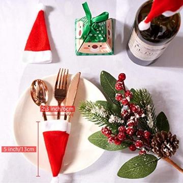 jeeri 24 Stück Weihnachtsdeko Tisch, tischdeko Weihnachten Weihnachtsmannmütze Besteck Tasche Weihnachten für weihnachtstischdeko Rotweinflasche Weinglas - 3