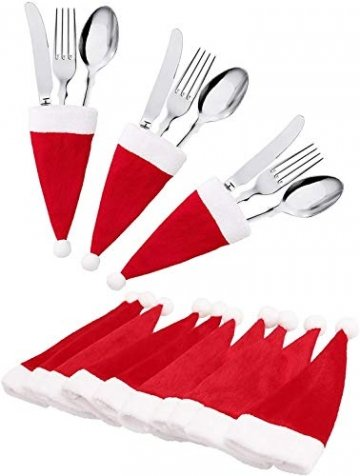 jeeri 24 Stück Weihnachtsdeko Tisch, tischdeko Weihnachten Weihnachtsmannmütze Besteck Tasche Weihnachten für weihnachtstischdeko Rotweinflasche Weinglas - 1
