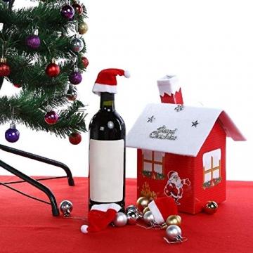 jeeri 24 Stück Weihnachtsdeko Tisch, tischdeko Weihnachten Weihnachtsmannmütze Besteck Tasche Weihnachten für weihnachtstischdeko Rotweinflasche Weinglas - 5