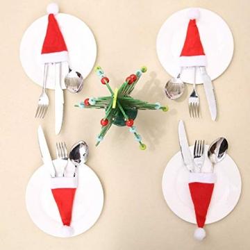 jeeri 24 Stück Weihnachtsdeko Tisch, tischdeko Weihnachten Weihnachtsmannmütze Besteck Tasche Weihnachten für weihnachtstischdeko Rotweinflasche Weinglas - 6