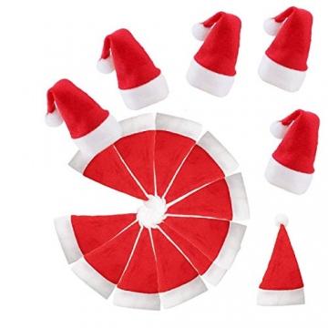 jeeri 24 Stück Weihnachtsdeko Tisch, tischdeko Weihnachten Weihnachtsmannmütze Besteck Tasche Weihnachten für weihnachtstischdeko Rotweinflasche Weinglas - 7