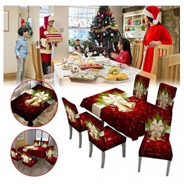 JUNGEN Weihnachts Tischdecke Glocke Drucken Tischtuch Weihnachtsdekoration für Küche Esszimmer Tischdecke Dekorationen Christmas Table - 3