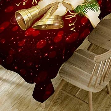 JUNGEN Weihnachts Tischdecke Glocke Drucken Tischtuch Weihnachtsdekoration für Küche Esszimmer Tischdecke Dekorationen Christmas Table - 8