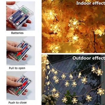 Kailedi Weihnachtslichter, 40 LED-Schneeflocken-Lichterkette für Zuhause, Party, Weihnachten, Hochzeit, Garten, Terrasse, Schlafzimmer, Dekoration, Innen- und Außenbereich - 2