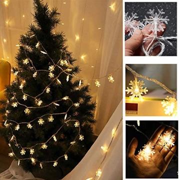 Kailedi Weihnachtslichter, 40 LED-Schneeflocken-Lichterkette für Zuhause, Party, Weihnachten, Hochzeit, Garten, Terrasse, Schlafzimmer, Dekoration, Innen- und Außenbereich - 3