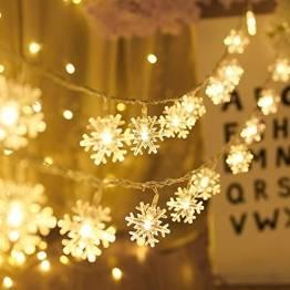 Kailedi Weihnachtslichter, 40 LED-Schneeflocken-Lichterkette für Zuhause, Party, Weihnachten, Hochzeit, Garten, Terrasse, Schlafzimmer, Dekoration, Innen- und Außenbereich - 1
