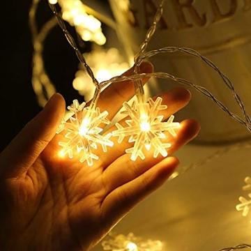Kailedi Weihnachtslichter, 40 LED-Schneeflocken-Lichterkette für Zuhause, Party, Weihnachten, Hochzeit, Garten, Terrasse, Schlafzimmer, Dekoration, Innen- und Außenbereich - 4