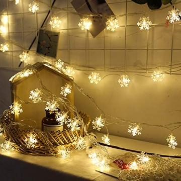 Kailedi Weihnachtslichter, 40 LED-Schneeflocken-Lichterkette für Zuhause, Party, Weihnachten, Hochzeit, Garten, Terrasse, Schlafzimmer, Dekoration, Innen- und Außenbereich - 5