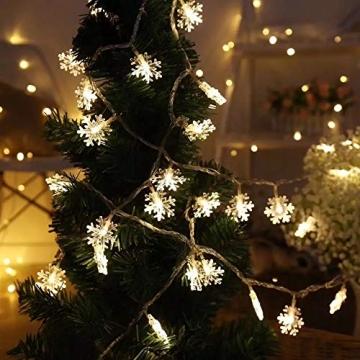 Kailedi Weihnachtslichter, 40 LED-Schneeflocken-Lichterkette für Zuhause, Party, Weihnachten, Hochzeit, Garten, Terrasse, Schlafzimmer, Dekoration, Innen- und Außenbereich - 6